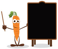 Funny carrot and a blackboard Stock Photos