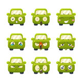Funny Cars with Emoticons. Vector Set Stock Image