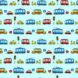 Funny Cars. kids seamless pattern texture. Royalty Free Stock Photos