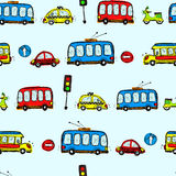 Funny Cars. kids seamless pattern texture. Vector Royalty Free Stock Photography