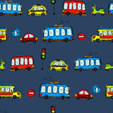 Funny Cars. kids seamless pattern texture. Royalty Free Stock Photo