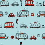 Funny Cars. kids seamless pattern texture. Royalty Free Stock Photography