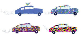 Funny cars with patterns set Royalty Free Stock Image
