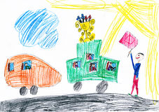 Funny cars start racing. child drawing Royalty Free Stock Photo