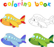 Funny cartoon aircraft. Coloring book for children Royalty Free Stock Images