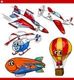 Funny cartoon aircraft vehicles set royalty free illustration