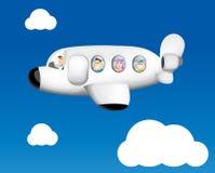 Funny cartoon airplane. Illustration background Stock Images
