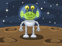 Funny cartoon alien above planetoid surface Stock Photos