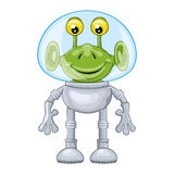 Funny cartoon alien in spacesuit Stock Images
