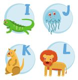 Funny cartoon alphabet. Iguana, Jellyfish, Kangaroo, Lion Stock Image