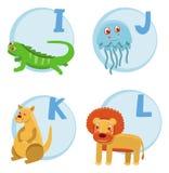 Funny cartoon alphabet. Iguana, Jellyfish, Kangaroo, Lion vector illustration