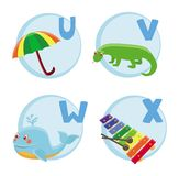 Funny cartoon alphabet. Umbrella, Varan, Whale, Xylophone Royalty Free Illustration