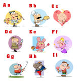 Funny cartoon alphabet collection 1. Colorful collage of funny cartoons stock illustration
