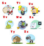 Funny cartoon alphabet collection 3 Royalty Free Stock Image