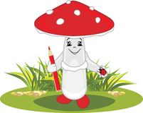 Funny cartoon amanita with a red pencil and a ladybird in his hands. Illustration royalty free illustration