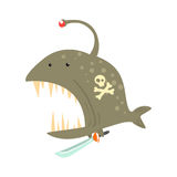 Funny cartoon angler fish with pirate sign on its body and a sword colorful character vector Illustration. On a white background Royalty Free Stock Image