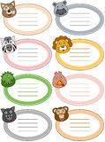 Funny Cartoon Animal Labels [2]. Collection of 8 labels for kids with funny cartoon animal faces, isolated on white background. Eps file available Royalty Free Stock Images