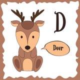 Funny cartoon animals. D letter. Cute alphabet for children education. Vector illustration.  stock illustration