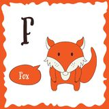 Funny cartoon animals. F letter. Cute alphabet for children education. Vector illustration.  Stock Image