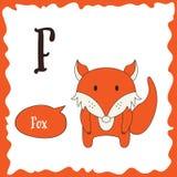Funny cartoon animals. F letter. Cute alphabet for children education. Vector illustration.  vector illustration
