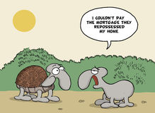 Funny cartoon about animals and mortgage Royalty Free Stock Image