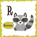 Funny cartoon animals. R letter. Cute alphabet for children education. Vector illustration.  Royalty Free Stock Photos