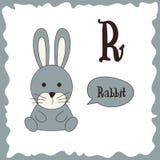 Funny cartoon animals. R letter. Cute alphabet for children education. Vector illustration.  vector illustration
