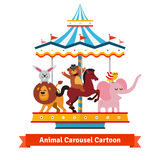 Funny cartoon animals riding on carnival carousel Stock Photo