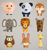 Funny cartoon animals. Set of fairytale characters. Illustration Royalty Free Stock Photos