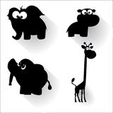 Funny cartoon animals silhouettes Royalty Free Stock Images
