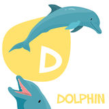 Funny cartoon animals vector alphabet letter set. Funny cartoon animals vector alphabet letter for kids from A to Z. D is dolphin. Vector illustration Stock Image