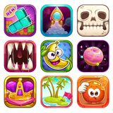 Funny cartoon app icons for game design. royalty free illustration