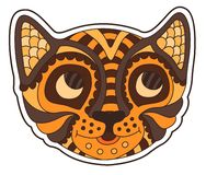Beautiful funny cartoon sticker with smiling tiger royalty free stock photos