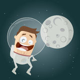 Funny cartoon astronaut and the moon Royalty Free Stock Photos