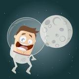 Funny cartoon astronaut and the moon Royalty Free Stock Photos
