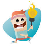 Funny cartoon athlete with torch Royalty Free Stock Photo