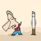 Funny cartoon avoiding cigarette for No Smoking Day. Stock Image