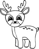 Funny cartoon baby deer. Coloring pages. Vector black and white illustration Royalty Free Stock Photo