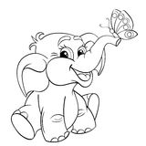 Funny cartoon baby elephant with butterfly. Black and white vector illustration for coloring book Royalty Free Stock Image