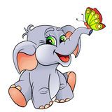 Funny cartoon baby elephant with butterfly Stock Images