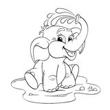 Funny cartoon baby elephant which pours himself with water. Black and white vector illustration for coloring book Royalty Free Stock Photos