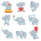Funny cartoon baby elephants vector collection for kids stickers. Elephant funny character with flower and air balloon illustration Royalty Free Stock Photo