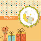 Funny cartoon baby shower card Stock Images