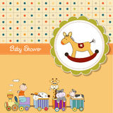 Funny cartoon baby shower card Royalty Free Stock Photos