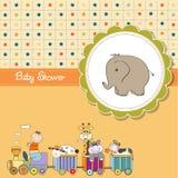 Funny cartoon baby shower card Stock Photography