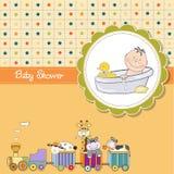 Funny cartoon baby shower card Stock Image