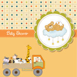 Funny cartoon baby shower card Royalty Free Stock Photography