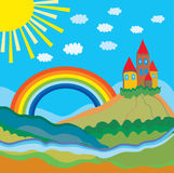 Funny cartoon background with castle Royalty Free Stock Photo