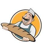 Funny cartoon baker sign. Funny clipart of a cartoon baker royalty free illustration