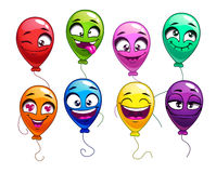 Funny cartoon balloons with comic faces. Cute bright balloon characters set, vector colorful balloons icons on white background Stock Image